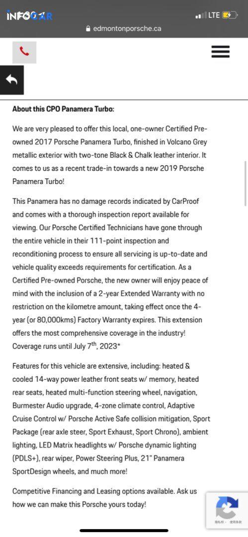 2017 Porsche Panamera Turbo - INFOCAR - Toronto's Most Comprehensive New and Used Auto Trading Platform